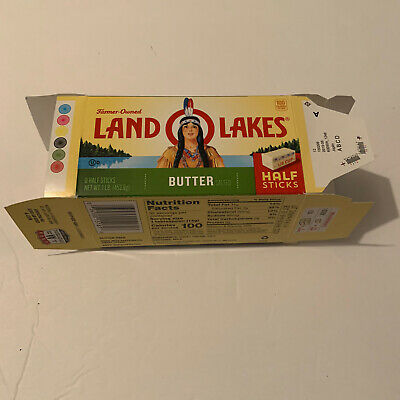 EMPTY LAND O LAKES BUTTER BOX with Indian Native AmericanDiscontinued Design