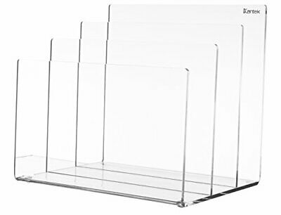"""Clear Acrylic File Holder Sorter 8""""Wx 6.5""""Dx 7.6""""H 3 Compartments Each 2"""" Deep"""