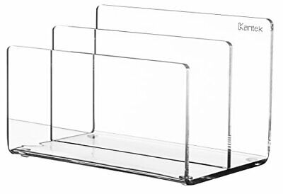 """Clear Acrylic Mail Holder Mini Sorter 6""""Wx3.8""""Dx3.9""""H 2 Compartments Each 1.75""""D"""