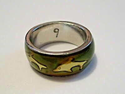 Vintage Dolphin Fashion Jewelry Ring ~ Heavy For It's Size L@@Ks Great Size 8.5