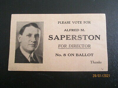 VINTAGE USA ELECTION CARD ; DIRECTOR OF BUFFALO NY- ALFRED M.SAPERTSON  c.1931