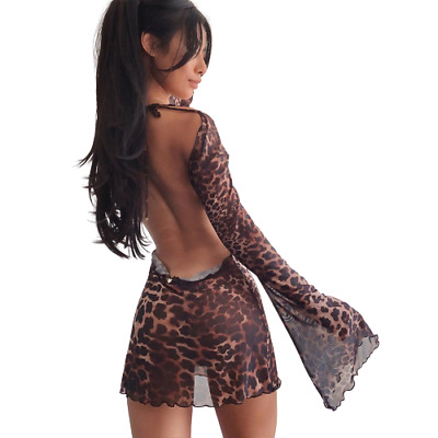 Womens Leopard Print See-through Mesh Bodycon Cocktail Backless Mini Dress Party