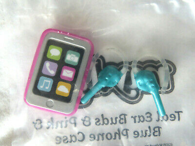 NEW * My Life As All American Girl Doll Purple Ear Buds Pods Silver Smartphone