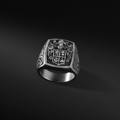 Details about  /Coat Of Arms Ring Family Crest Ring Custom Signet Ring Mens Silver Ring Oxidized