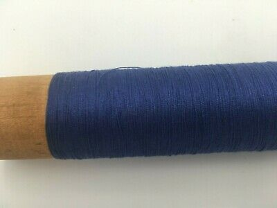 Vintage wooden industrial spool of blue thread, FREE SHIPPING in US