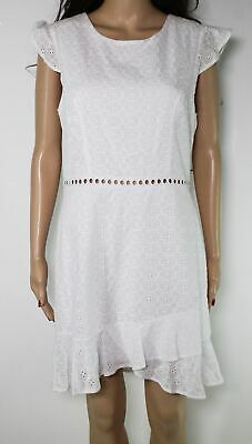 City Studio White Size 11 Junior's Sheath Dress Eyelet Flutter Sleeve $59 #439