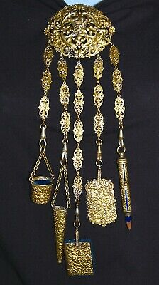 Ornate Antique Filigree Brass Sewing Chatelaine w/ 5 Attachments