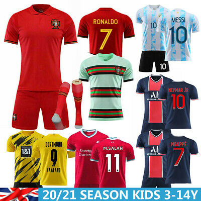 20-21 Football Kit Strips Soccer Jersey Kid Boy 3-14Y Short Sleeve Sports Outfit