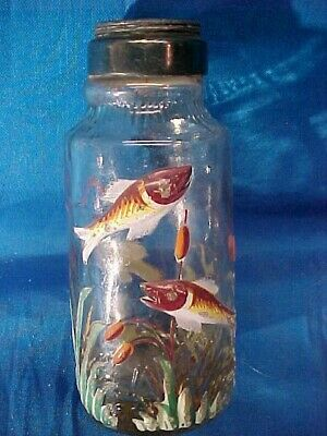 1880s  CLEAR Glass SALT SHAKER w Hand PAINTED Enameled FISH Design