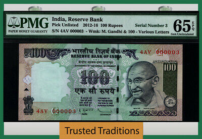 Tt 2012-16 India 100 Rupees Gandhi 4Av Block S/N 000003 Pmg 65 Epq Gem 1 Of 8!