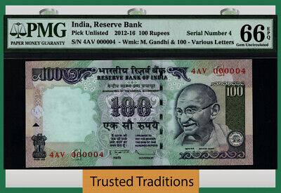 Tt 2012-16 India 100 Rupees Gandhi 4Av Block S/N 000004 Pmg 66 Epq Gem 2 Of 8!