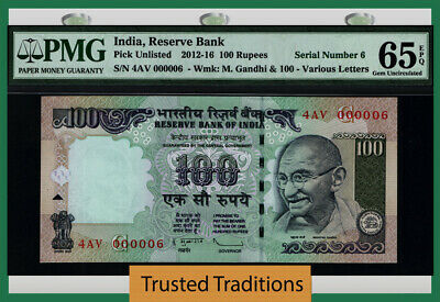 Tt 2012-16 India 100 Rupees Gandhi 4Av Block S/N 000006 Pmg 65 Epq Gem 4 Of 8!