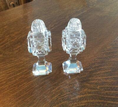 Lovely Vintage Pedestal Cut Glass Salt & Pepper Shakers With Glass Tops