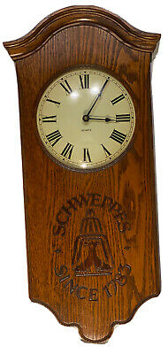 200th Anniversary Schweppes Solid Oak Advertising Wall Clock Working Vintage