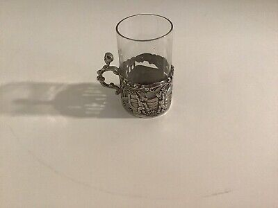 ANTIQUE  Tea Shot Cordial Glass In Silver Holder Marked W.C.