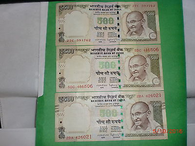 - India Paper Money- 3  'Mg' Notes-Rs. 500/- Yr. '2015'- One Sign.-3 Designs# Ed