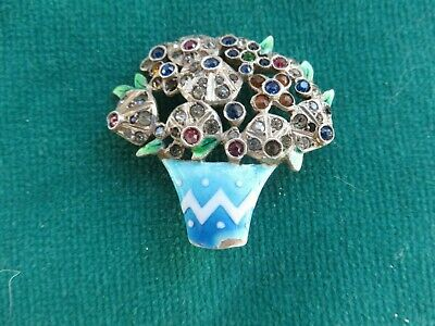 Enamel Art Nouveau brooch  pot of diamante flowers in enamel pot lovely