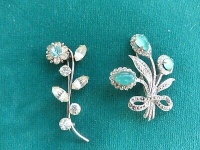 2 Art Nouveau brooches pretty flowers marcasite detail lovely stones quality