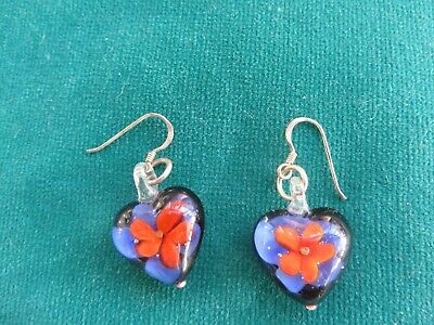 Art Nouveau style real glass with flowers heart earrings silver posts quality