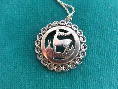 Art Nouveau style beautiful pendant silver chain with stylised antelope Gallery