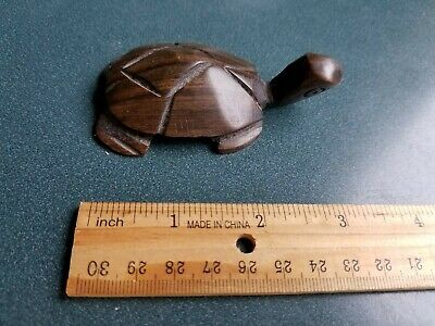 Unique Hand Carved Wood Ironwood Small Sea Turtle Tortoise Figurine Carving 3""