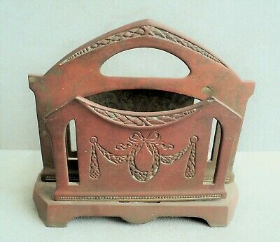Antique ART NOUVEAU Bronze Brass GESCHUTZT LETTER HOLDER Floral Swags German