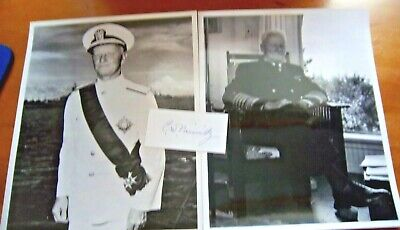 Admiral Of The Fleet Chester William Nimitz Signed On Piece & 2 Unsigned Photos
