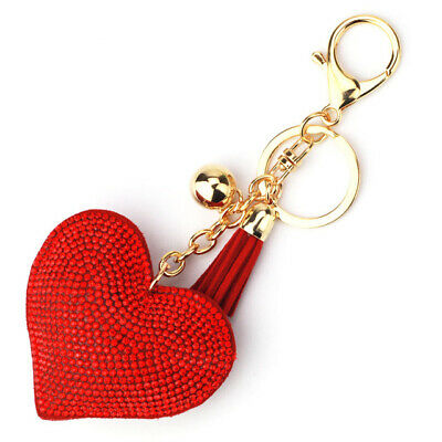 Love Heart Keyring Red Pink Crystal Rhinestone Faux Suede Premium Quality UK