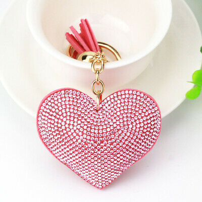 Love Heart Keyring Red Pink Crystal Rhinestone Faux Suede Cool Mothers Day Gift