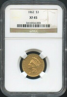 1862 $3 Gold Indian Princess XF 45 NGC, RARE CIVIL WAR DATE!