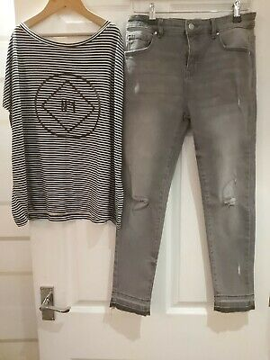 River Island Slouchy Striped Top & Denim & Co Skinny Jeans 11-12 Years Vgc
