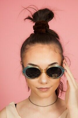 90s does 60s vintage blue & clear oversized oval sunglasses  Mod Scooter