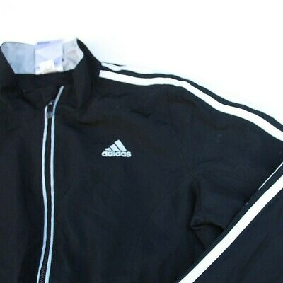 Retro Kids Adidas Black White Stripe 90s Y2K Style Tracksuit Jacket 8-10 Y