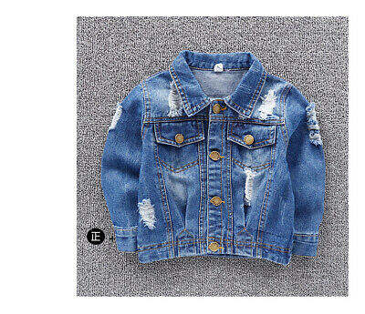 Toddler Kids Jeans Fashion Coat Denim Distressed Boys Tops Ripped Jacket UK