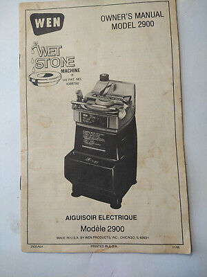 Owners manual for WEN model 2900 wet sharpening machine