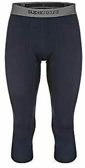 Super.Natural Men's Base 3/4 Merino Wool Dark Blue Tights 175 Size XXL FREE P&P