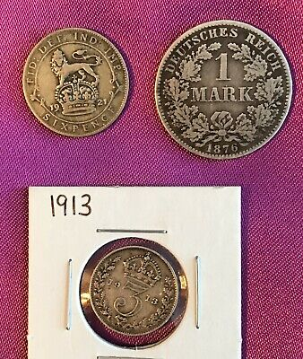 4 Old European Silver Coins 1876, 1913, 1921  & ?unknown