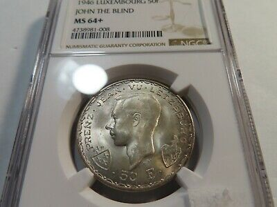 T58 Luxembourg 1946 Silver 50 Francs John the Blind NGC MS-64+