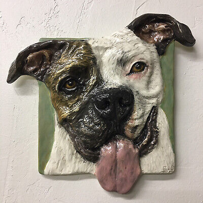 American Staffordshire Terrier Pit Bull Dog Ceramic Tile In Stock Pet Portrait