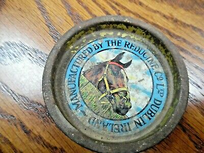 Old Vintage 1950s Reducine Horse Racing Graphic TIN 14 Ounce LID Dublin Ireland