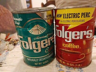 VINTAGE FOLGERS DECAFFEINATED COFFEE CAN 13 OZ TIN GREEN folgers red elec perk