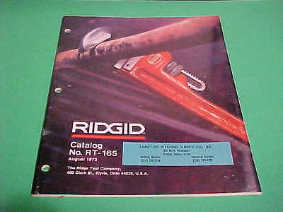 Rigid Tool Co. Catalog No. Rt-165 August 1973 Great With 50 Pages