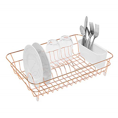 simplywire - Copper Dish Drainer with Cutlery Basket - Anti Rust
