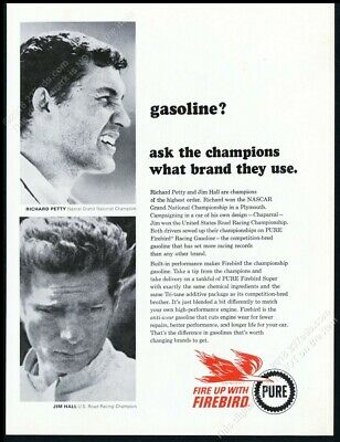 1965 Richard Petty Jim Hall photo Pure Firebird gas vintage print ad