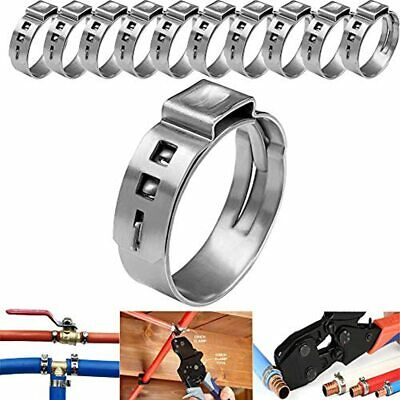 LTI Premium Quality 50 Pack 5/8 Inch PEX Cinch Clamps Full 304 Stainless Steel