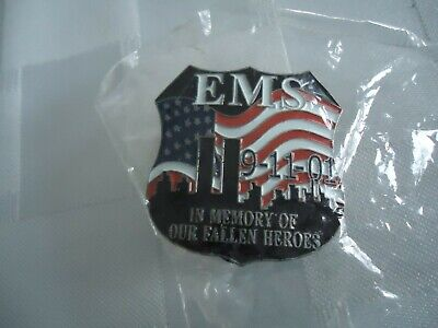 9-11-01 EMS In Memory Of Our Fallen Heroes Pin-New In Bag