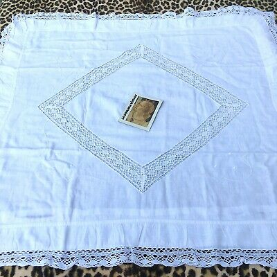 FRENCH 1800s SQUARE BED PILLOW COVER~EMBROIDERED WHITE COTTON~OPEN WORK CROCHET