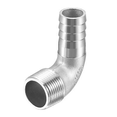 304 Stainless Steel Hose Barb Fitting Elbow 20mm x G3/4 Male Pipe Connector