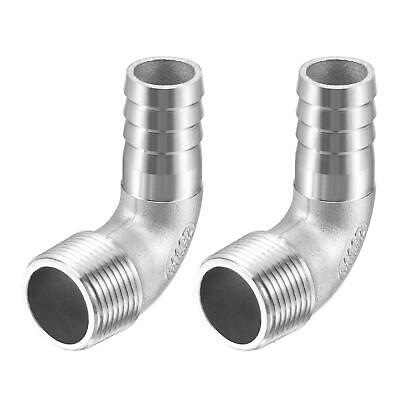 2pcs 304 Stainless Steel Hose Barb Fitting Elbow 20mm x G3/4 Male Pipe Connector