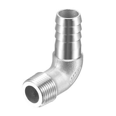 304 Stainless Steel Hose Barb Fitting Elbow 14mm x G3/8 Male Pipe Connector